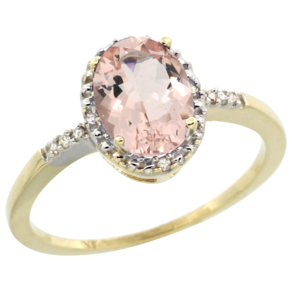 10K Yellow Gold Diamond Natural Morganite Ring Oval 8x6mm, sizes 5-10