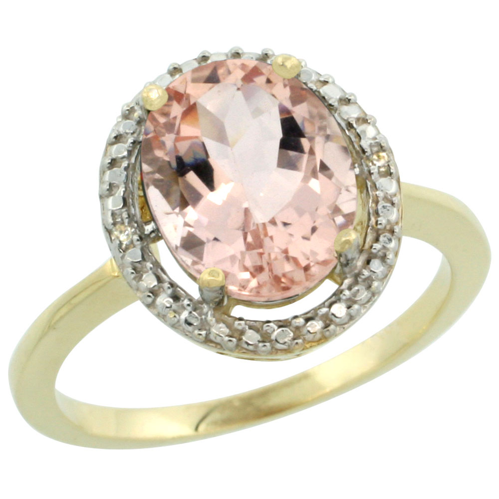 14K Yellow Gold Diamond Natural Morganite Engagement Ring Oval 10x8mm, sizes 5-10
