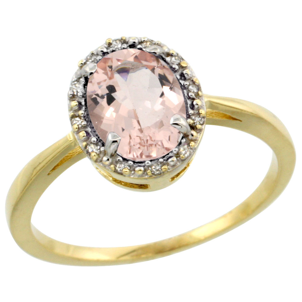 14K Yellow Gold Natural Morganite Ring Oval 8x6 mm Diamond Halo, sizes 5-10