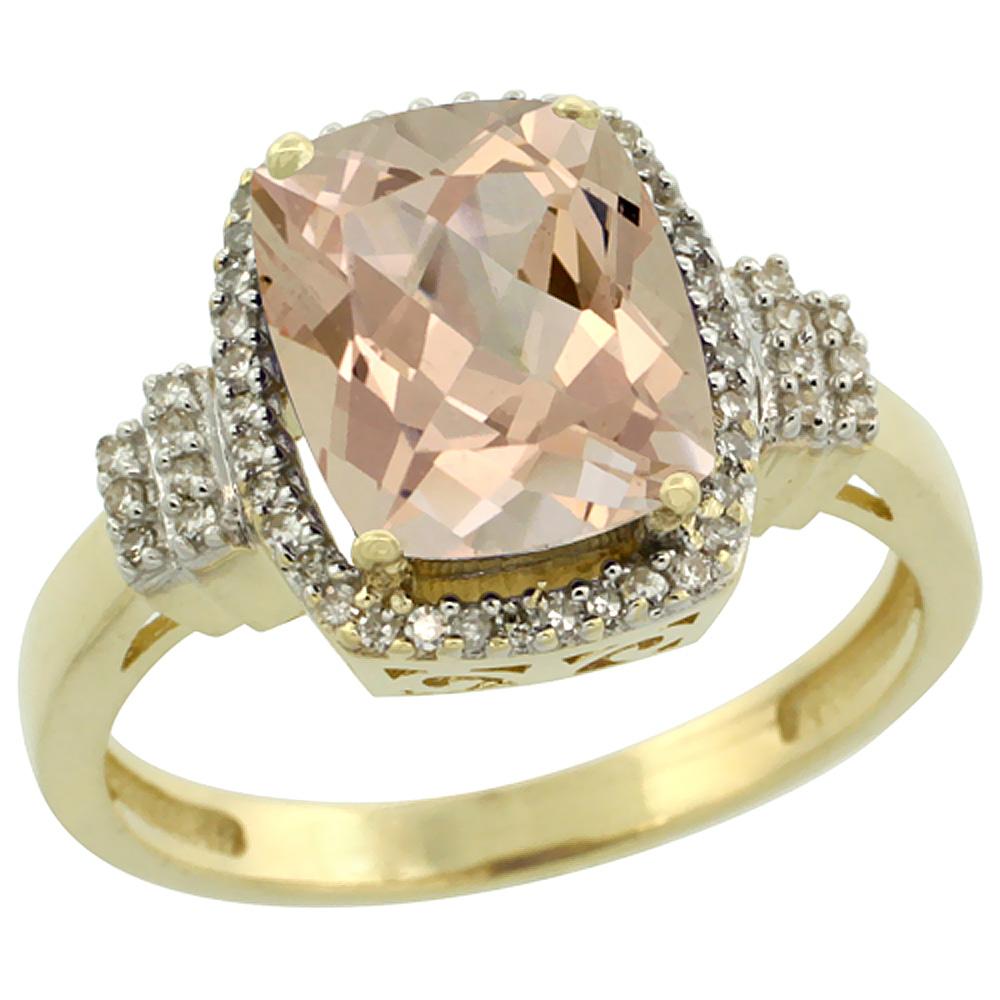 10k Yellow Gold Natural Morganite Ring Cushion-cut 9x7mm Diamond Halo, sizes 5-10