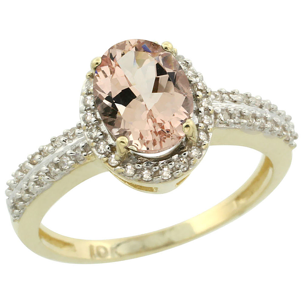 10k Yellow Gold Natural Morganite Ring Oval 8x6mm Diamond Halo, sizes 5-10