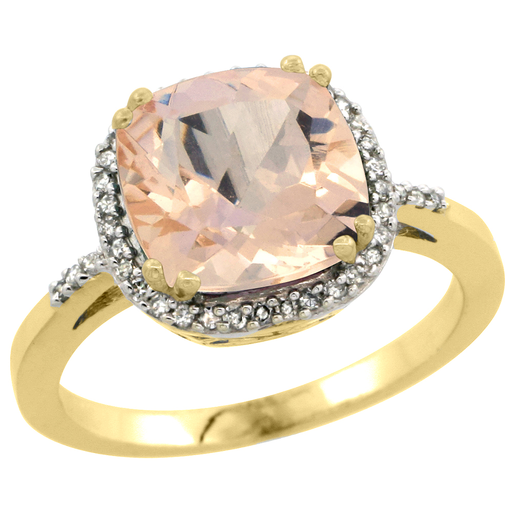 10K Yellow Gold Diamond Natural Morganite Ring Cushion-cut 9x9mm, sizes 5-10