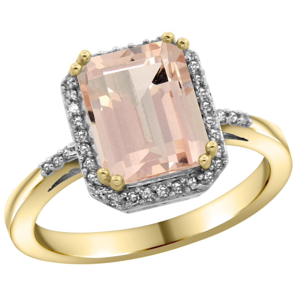 14K Yellow Gold Diamond Natural Morganite Ring Emerald-cut 9x7mm, sizes 5-10