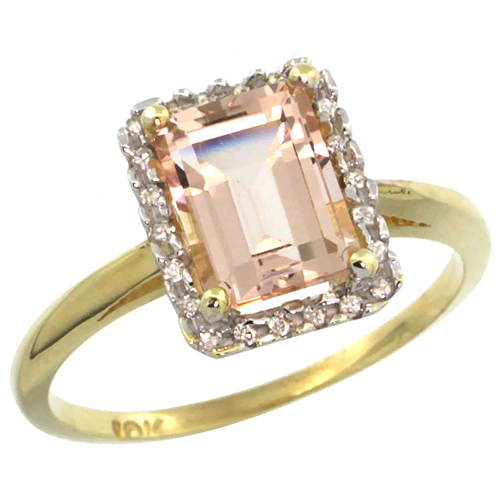 10K Yellow Gold Diamond Natural Morganite Ring Emerald-cut 8x6mm, sizes 5-10
