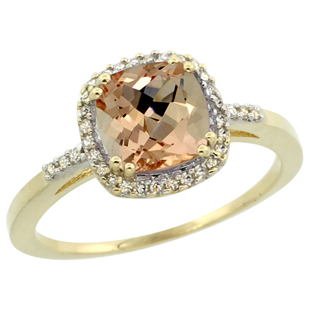 10K Yellow Gold Diamond Natural Morganite Ring Cushion-cut 7x7mm, sizes 5-10