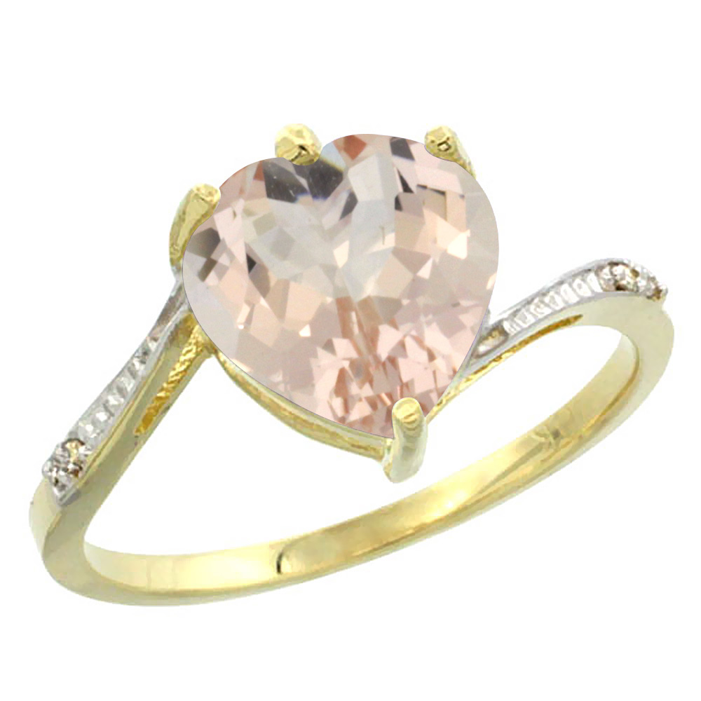 10K Yellow Gold Natural Morganite Ring Heart 9x9mm Diamond Accent, sizes 5-10