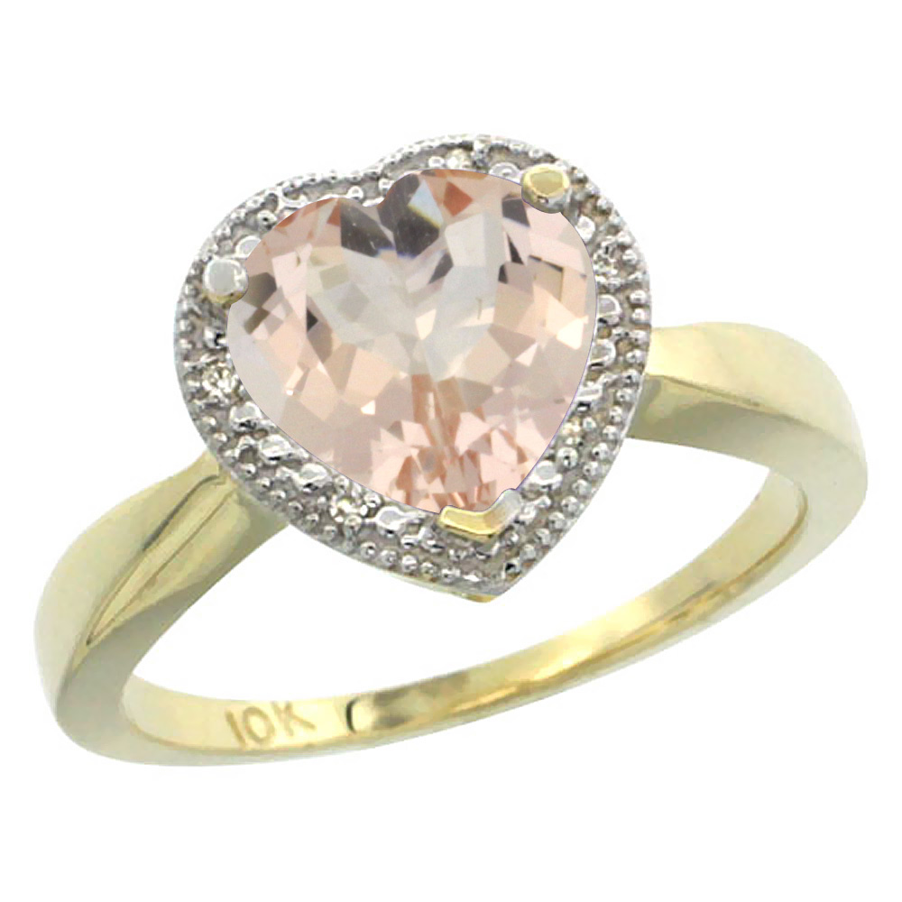 10K Yellow Gold Natural Morganite Ring Heart 8x8mm Diamond Accent, sizes 5-10