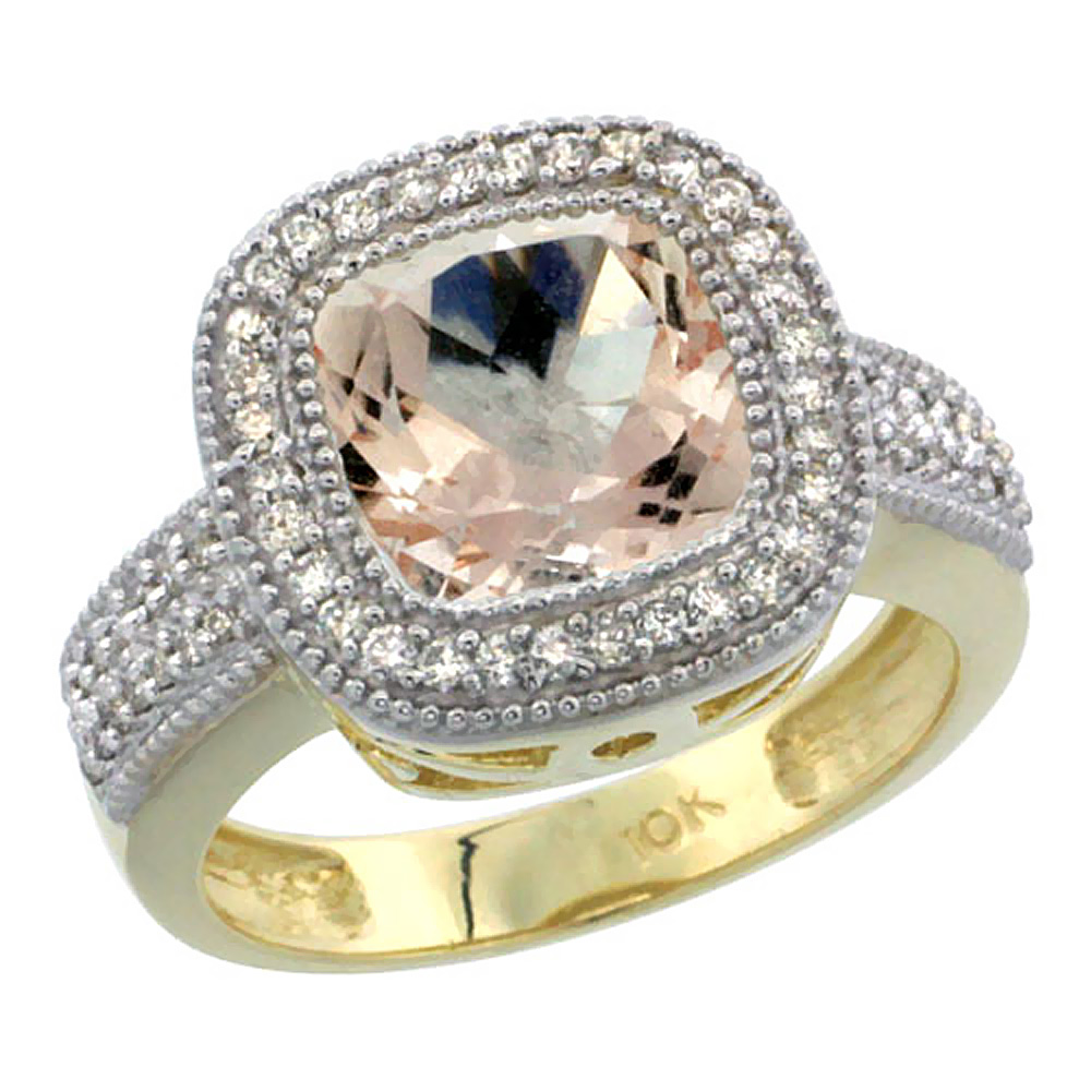 10K Yellow Gold Natural Morganite Ring Diamond Accent, Cushion-cut 9x9mm Diamond Accent, sizes 5-10