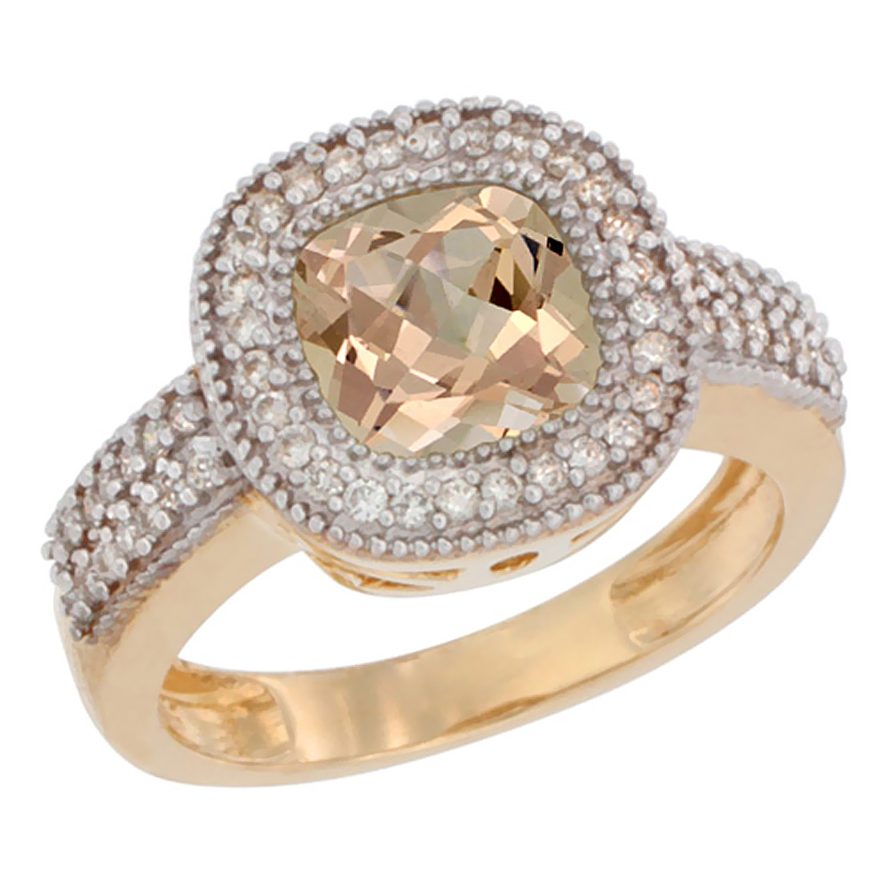 10K Yellow Gold Natural Morganite Ring Cushion-cut 7x7mm Diamond Accent, sizes 5-10