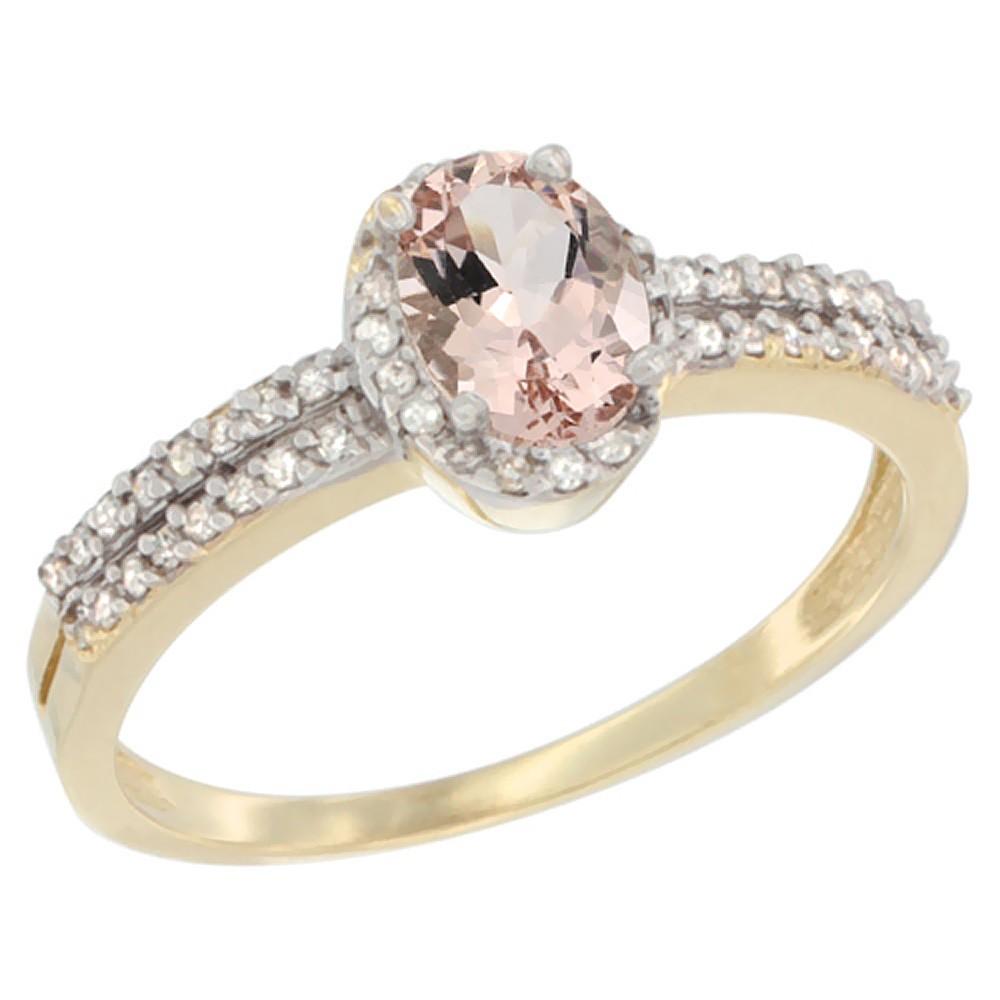 10K Yellow Gold Natural Morganite Ring Oval 6x4mm Diamond Accent, sizes 5-10