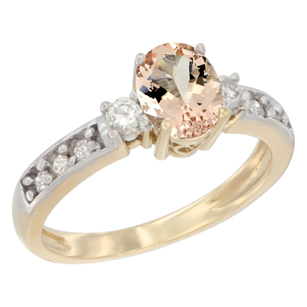10k Yellow Gold Natural Morganite Ring Oval 7x5 mm Diamond Accent, sizes 5 - 10