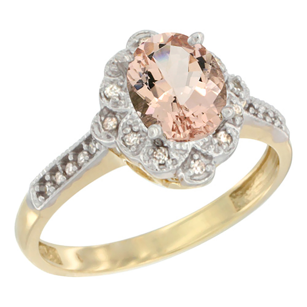 10K Yellow Gold Natural Morganite Ring Oval 8x6 mm Floral Diamond Halo, sizes 5 - 10