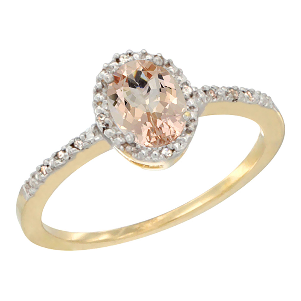10K Yellow Gold Diamond Natural Morganite Engagement Ring Oval 7x5 mm, sizes 5 - 10