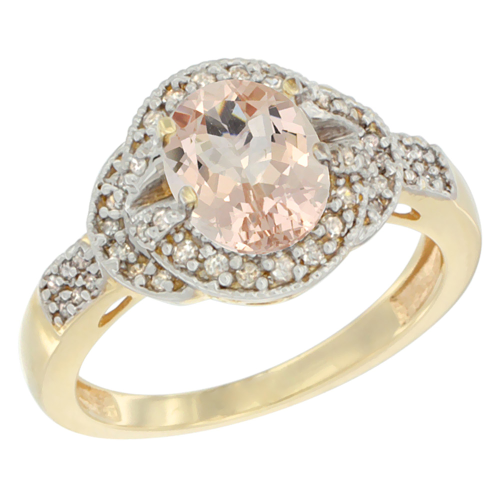 10K Yellow Gold Natural Morganite Ring Oval 8x6 mm Diamond Accent, sizes 5 - 10