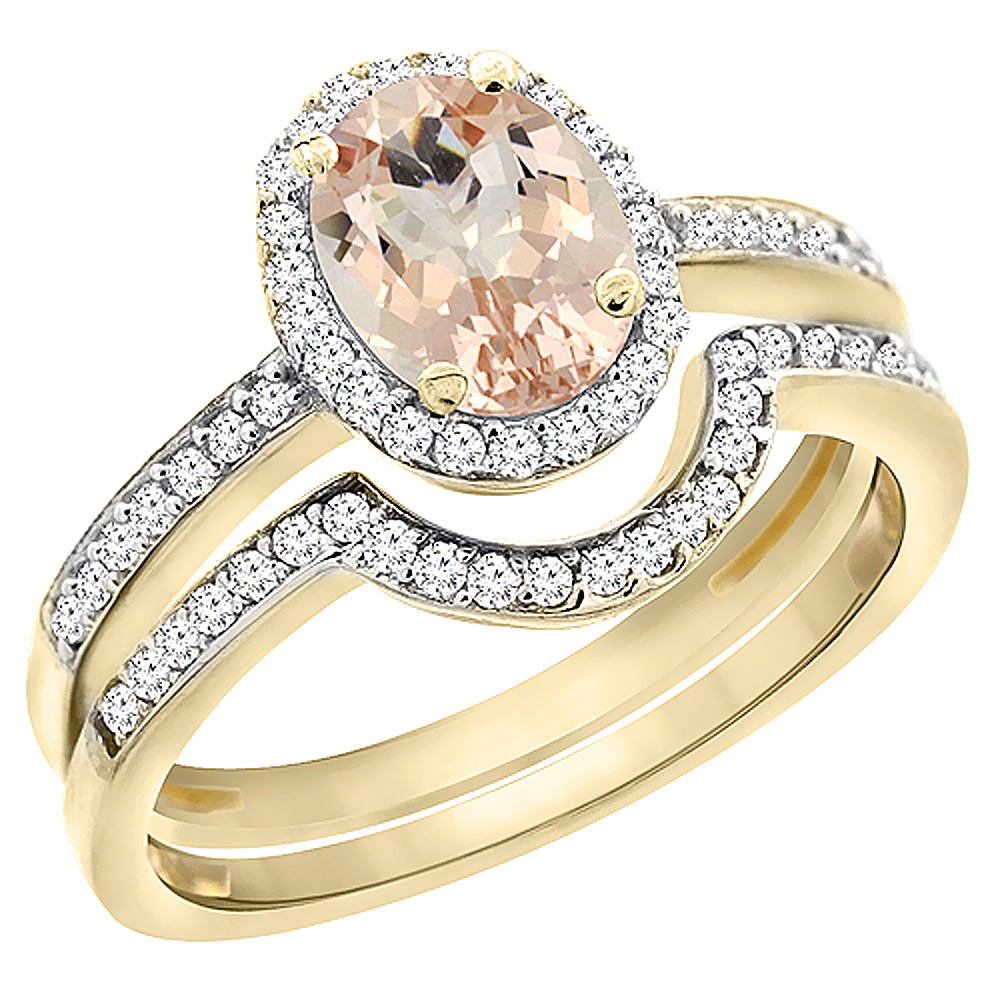 10K Yellow Gold Diamond Natural Morganite 2-Pc. Engagement Ring Set Oval 8x6 mm, sizes 5 - 10