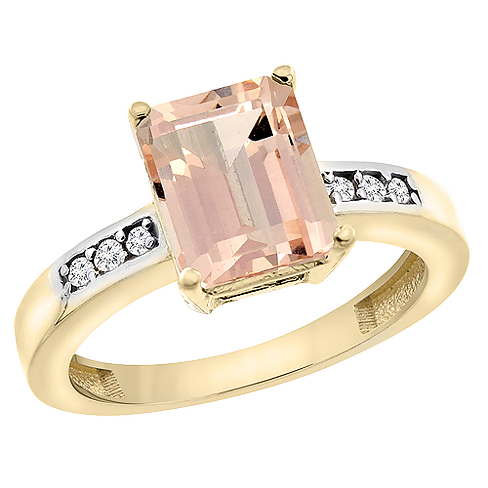 10K Yellow Gold Natural Morganite Octagon 9x7 mm with Diamond Accents, sizes 5 - 10