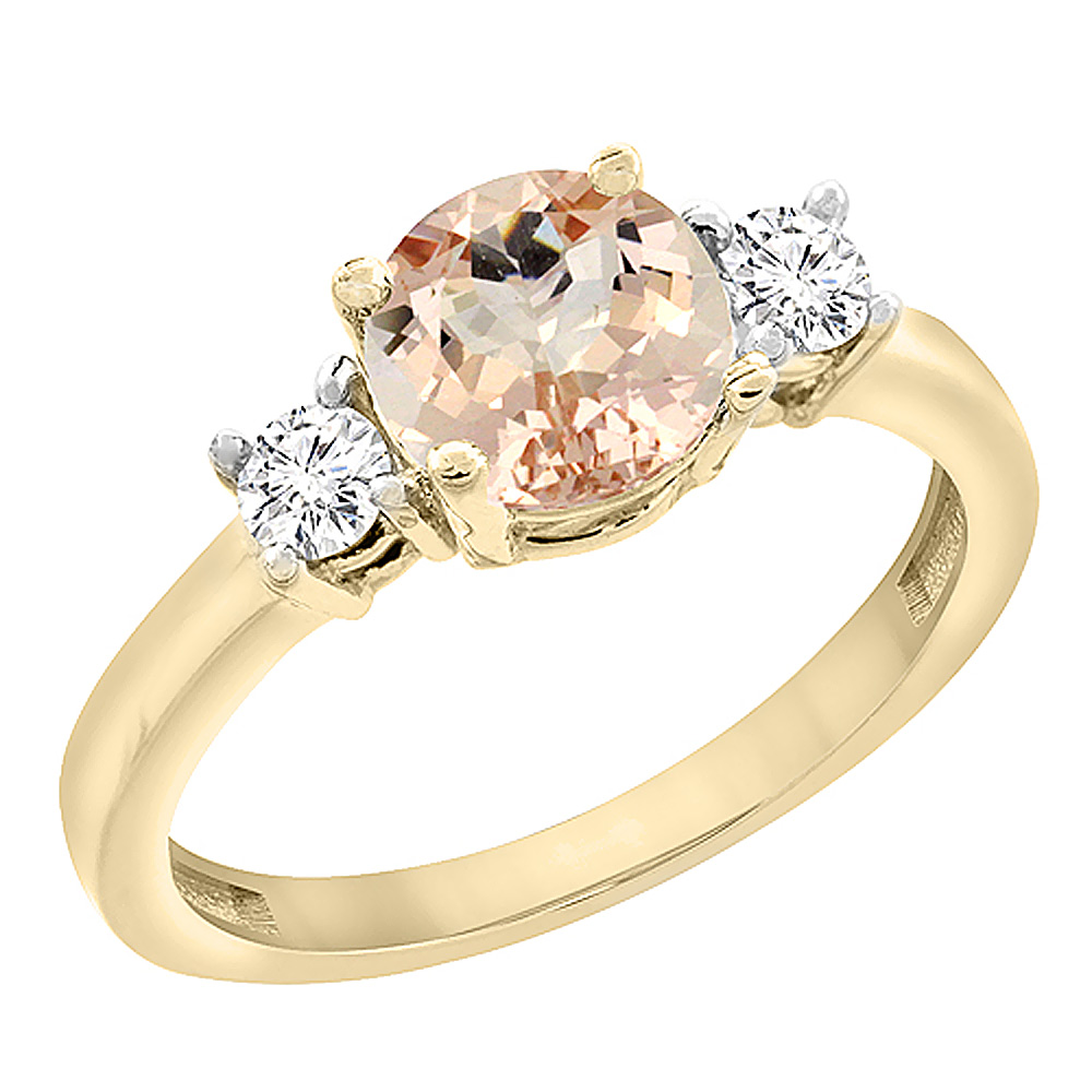 10K Yellow Gold Diamond Natural Morganite Engagement Ring Round 7mm, sizes 5 to 10 with half sizes