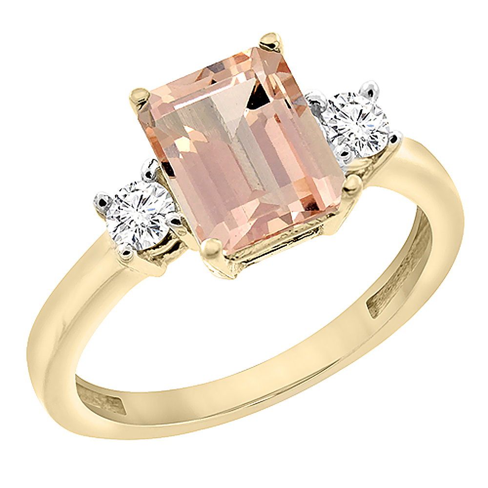 10K Yellow Gold Natural Morganite Ring Octagon 8x6 mm with Diamond Accents, sizes 5 - 10