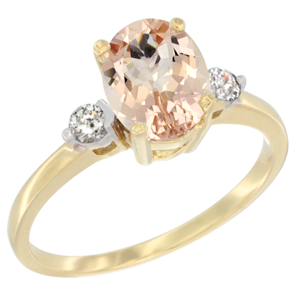 10K Yellow Gold Natural Morganite Ring Oval 9x7 mm Diamond Accent, sizes 5 to 10