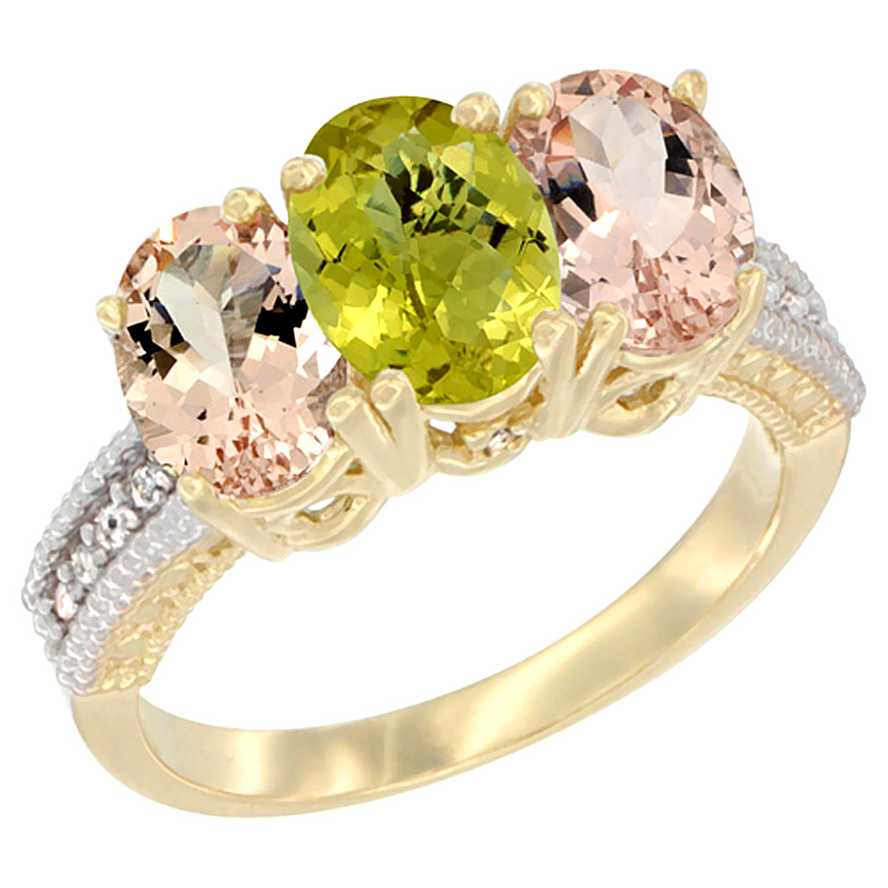 14K Yellow Gold Natural Lemon Quartz & Morganite Sides Ring 3-Stone Oval 7x5 mm Diamond Accent, sizes 5 - 10