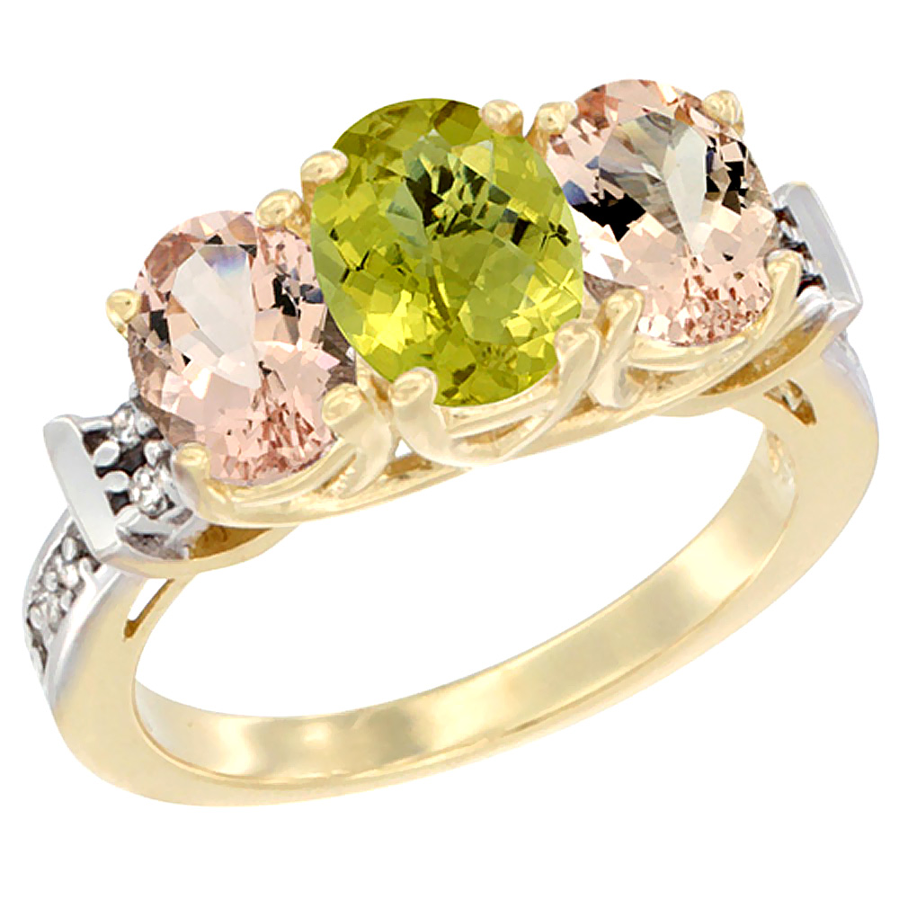 14K Yellow Gold Natural Lemon Quartz & Morganite Sides Ring 3-Stone Oval Diamond Accent, sizes 5 - 10