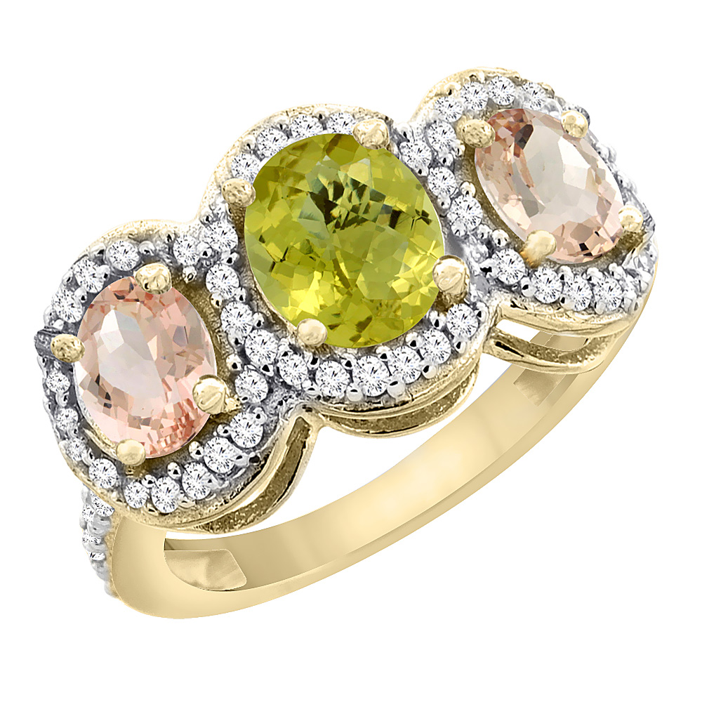 14K Yellow Gold Natural Lemon Quartz & Morganite 3-Stone Ring Oval Diamond Accent, sizes 5 - 10