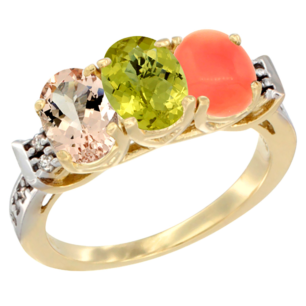 14K Yellow Gold Natural Morganite, Lemon Quartz & Coral Ring 3-Stone Oval 7x5 mm Diamond Accent, sizes 5 - 10