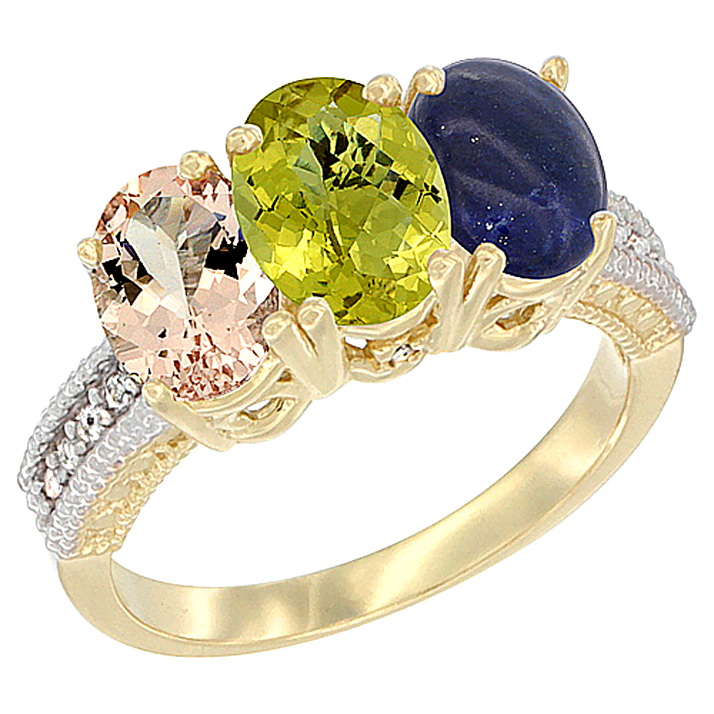 14K Yellow Gold Natural Morganite, Lemon Quartz & Lapis Ring 3-Stone Oval 7x5 mm Diamond Accent, sizes 5 - 10