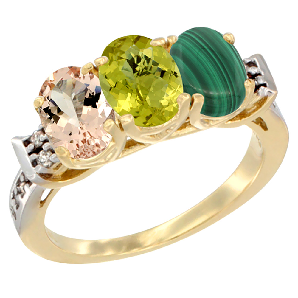 14K Yellow Gold Natural Morganite, Lemon Quartz & Malachite Ring 3-Stone Oval 7x5 mm Diamond Accent, sizes 5 - 10