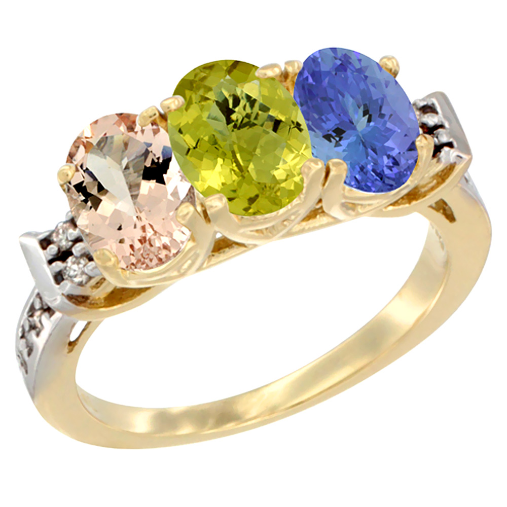 14K Yellow Gold Natural Morganite, Lemon Quartz & Tanzanite Ring 3-Stone Oval 7x5 mm Diamond Accent, sizes 5 - 10