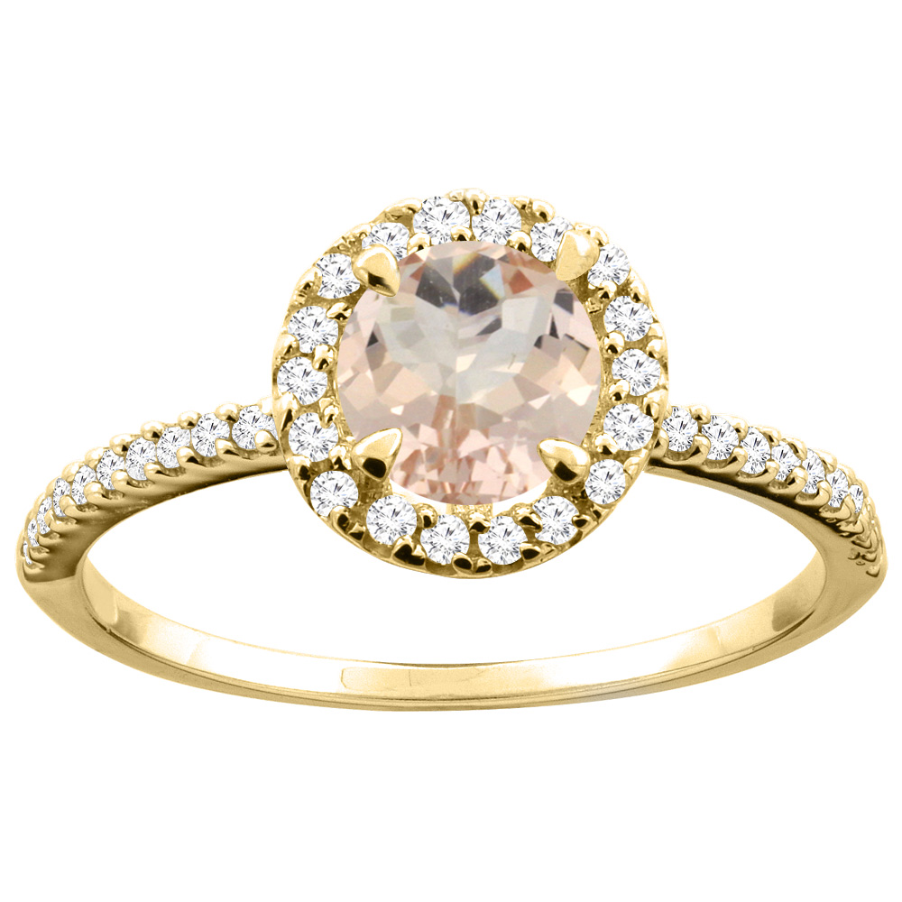 14K Gold Natural Morganite Ring Round 6mm Diamond Accents, sizes 5 - 10