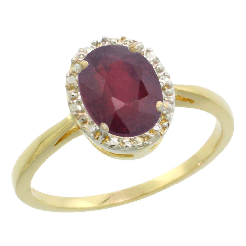 10K Yellow Gold Enhanced Ruby Diamond Halo Ring Oval 8X6mm, sizes 5-10