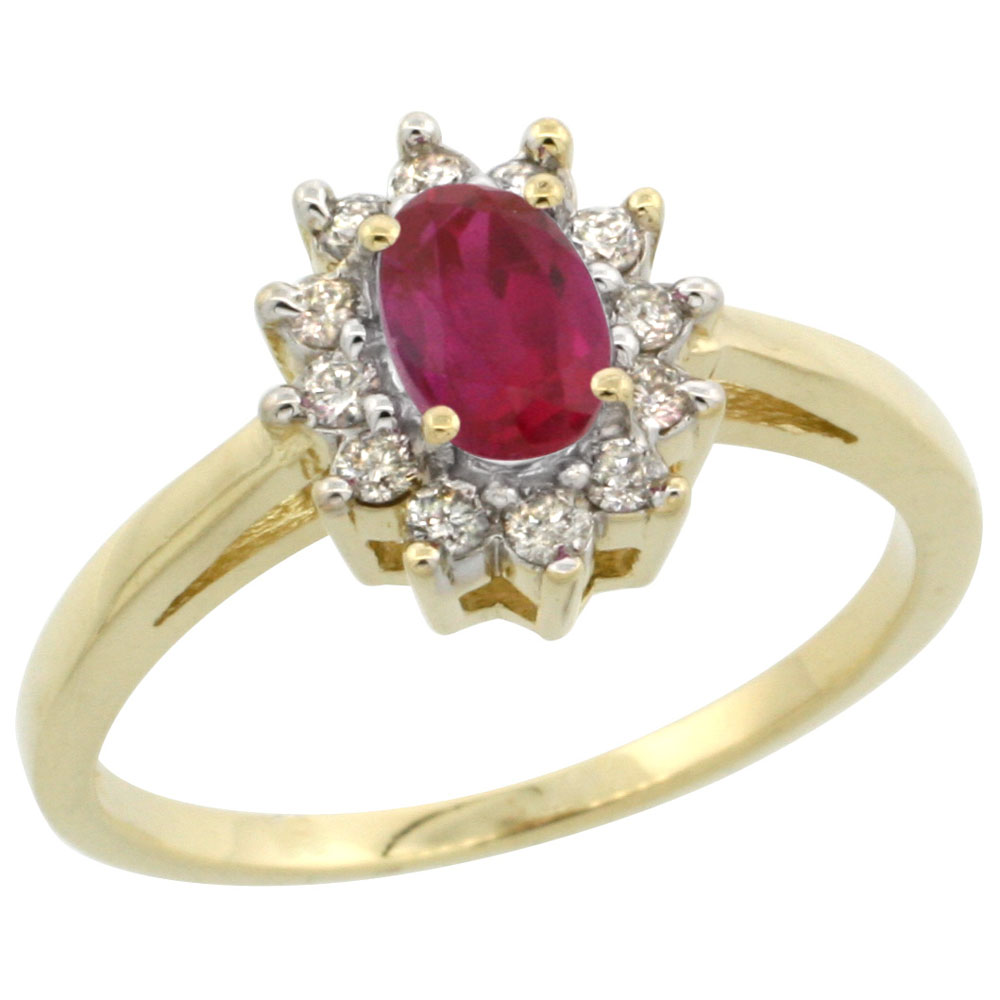 14K Yellow Gold Enhanced Genuine Ruby Flower Diamond Halo Ring Oval 6x4 mm, sizes 5 10