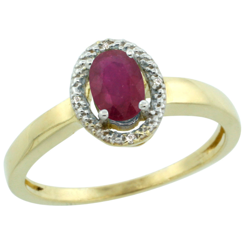 14K Yellow Gold Diamond Halo Enhanced Ruby Engagement Ring Oval 6X4 mm, sizes 5-10