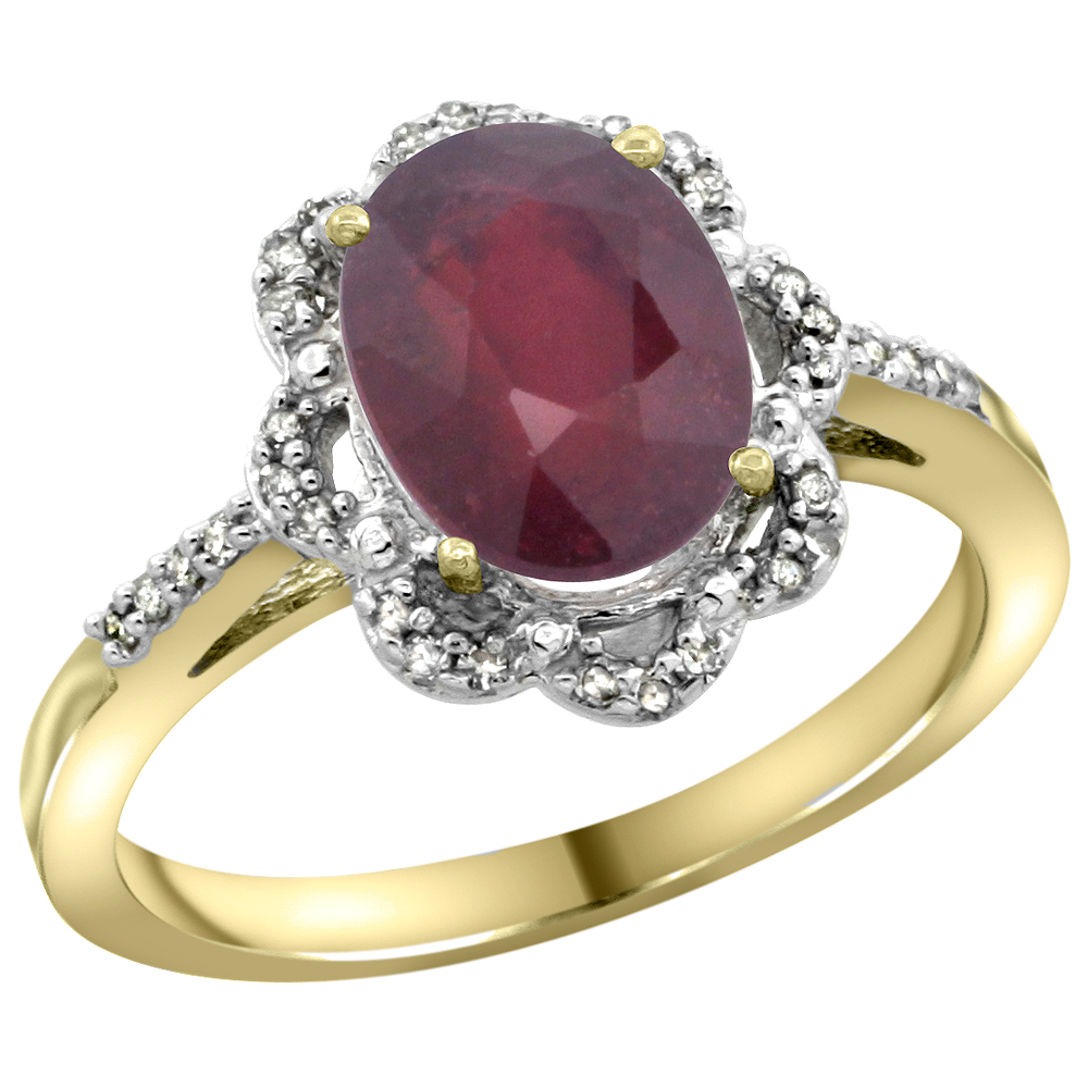 10K Yellow Gold Diamond Halo Enhanced Ruby Engagement Ring Oval 9x7mm, sizes 5-10
