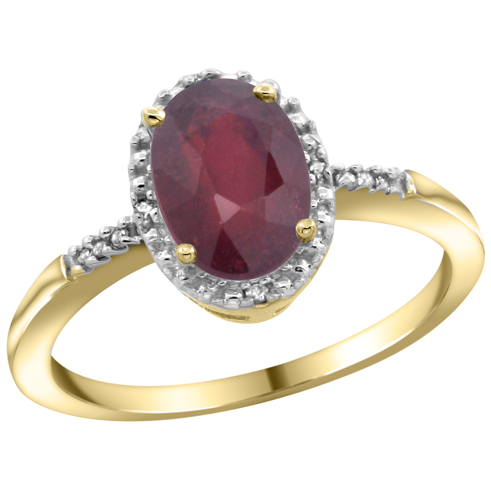 10K Yellow Gold Diamond Enhanced Ruby Ring Oval 8x6mm, sizes 5-10