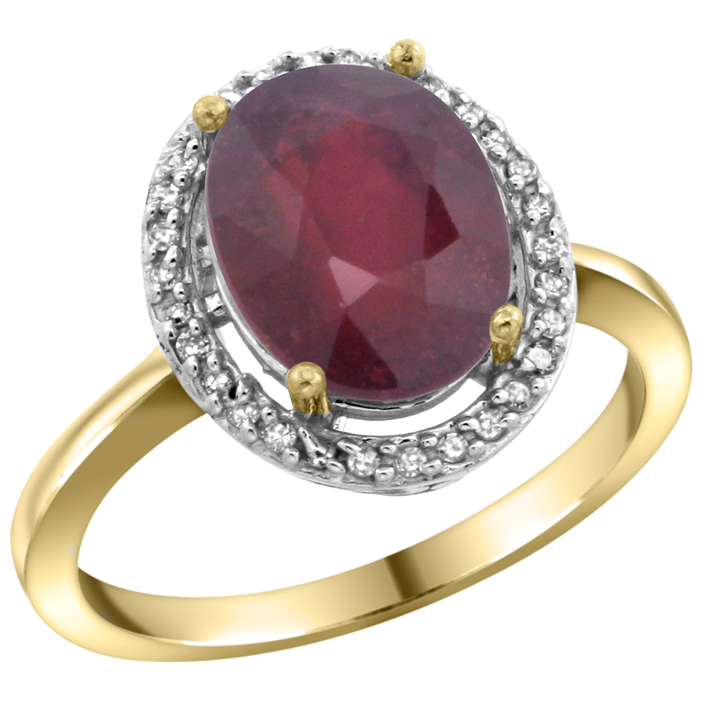 14K Yellow Gold Diamond Enhanced Genuine Ruby Engagement Ring Oval 10x8mm, sizes 5-10