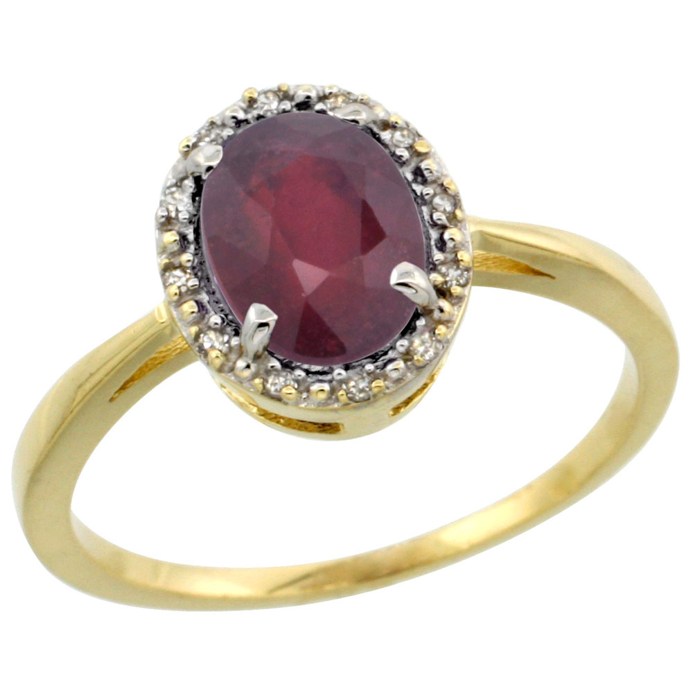 10k Yellow Gold Enhanced Ruby Ring Oval 8x6 mm Diamond Halo, sizes 5-10