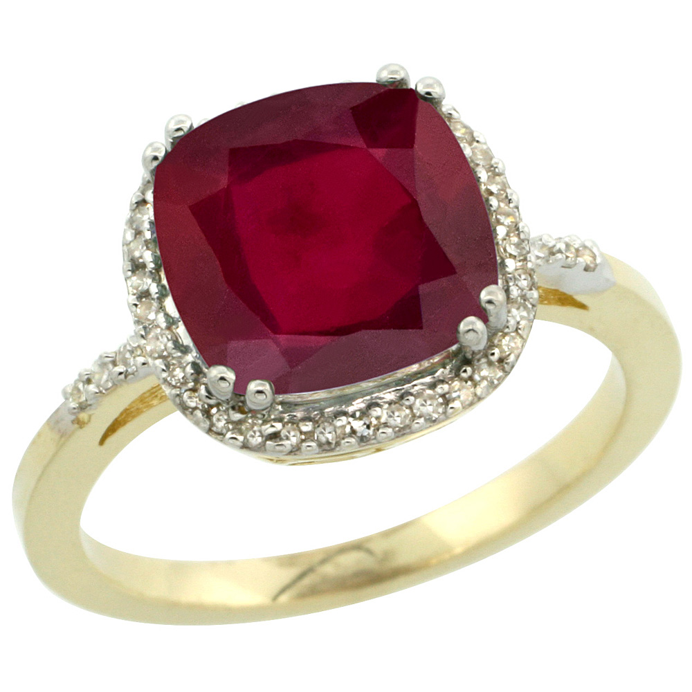 14K Yellow Gold Diamond and Enhanced Genuine Ruby Ring Cushion-cut 9x9mm, sizes 5-10