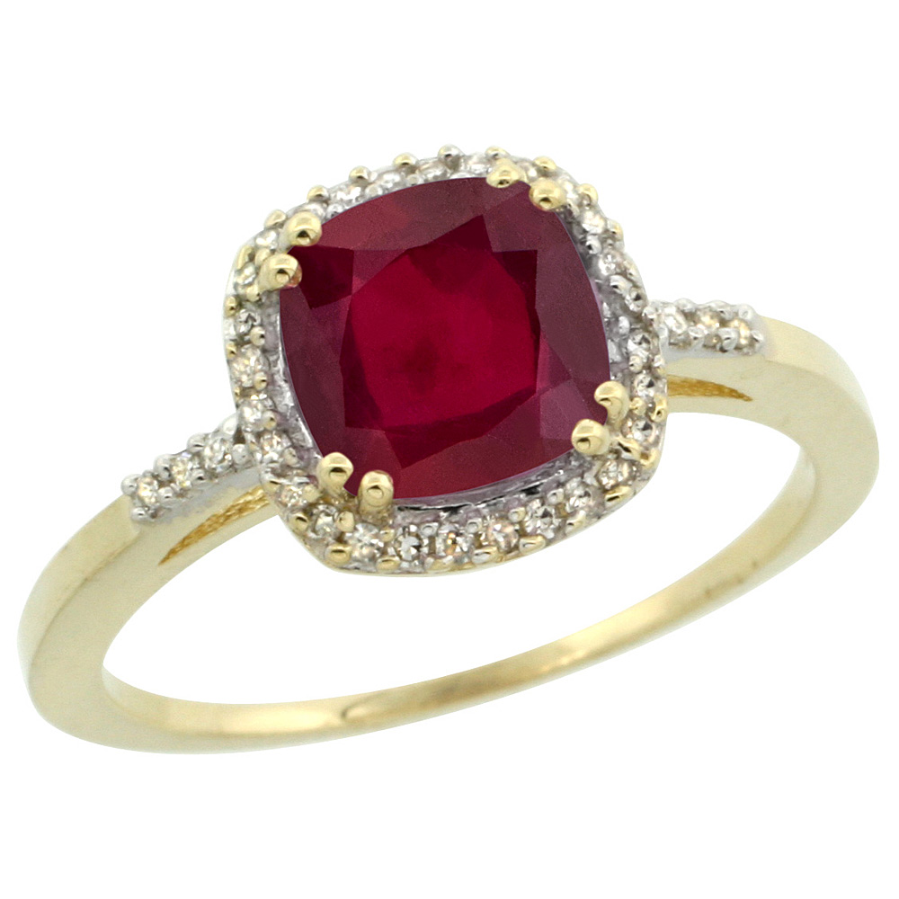 14K Yellow Gold Diamond Enhanced Genuine Ruby Ring Cushion-cut 7x7mm, sizes 5-10