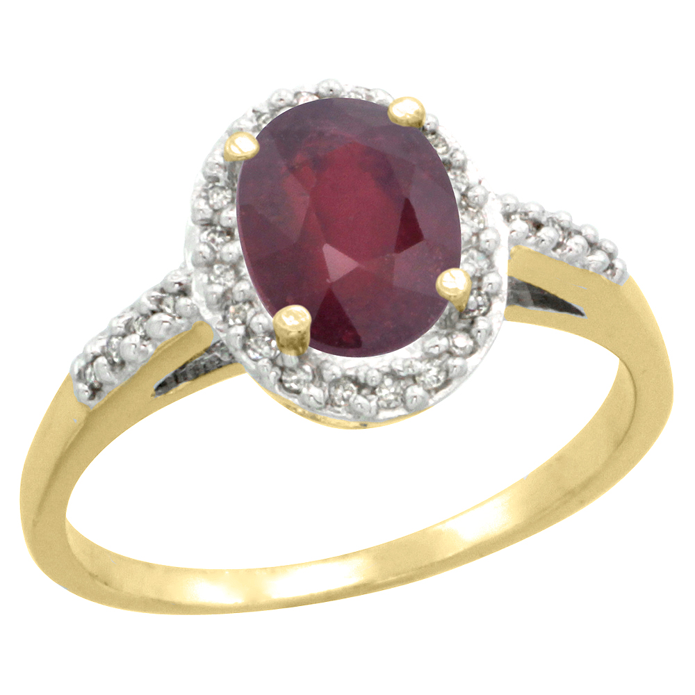 14K Yellow Gold Diamond Enhanced Ruby Ring Oval 8x6mm, sizes 5-10