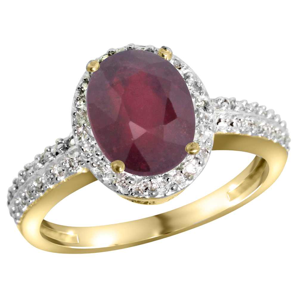 14K Yellow Gold Diamond Enhanced Genuine Ruby Ring Oval 9x7mm, sizes 5-10