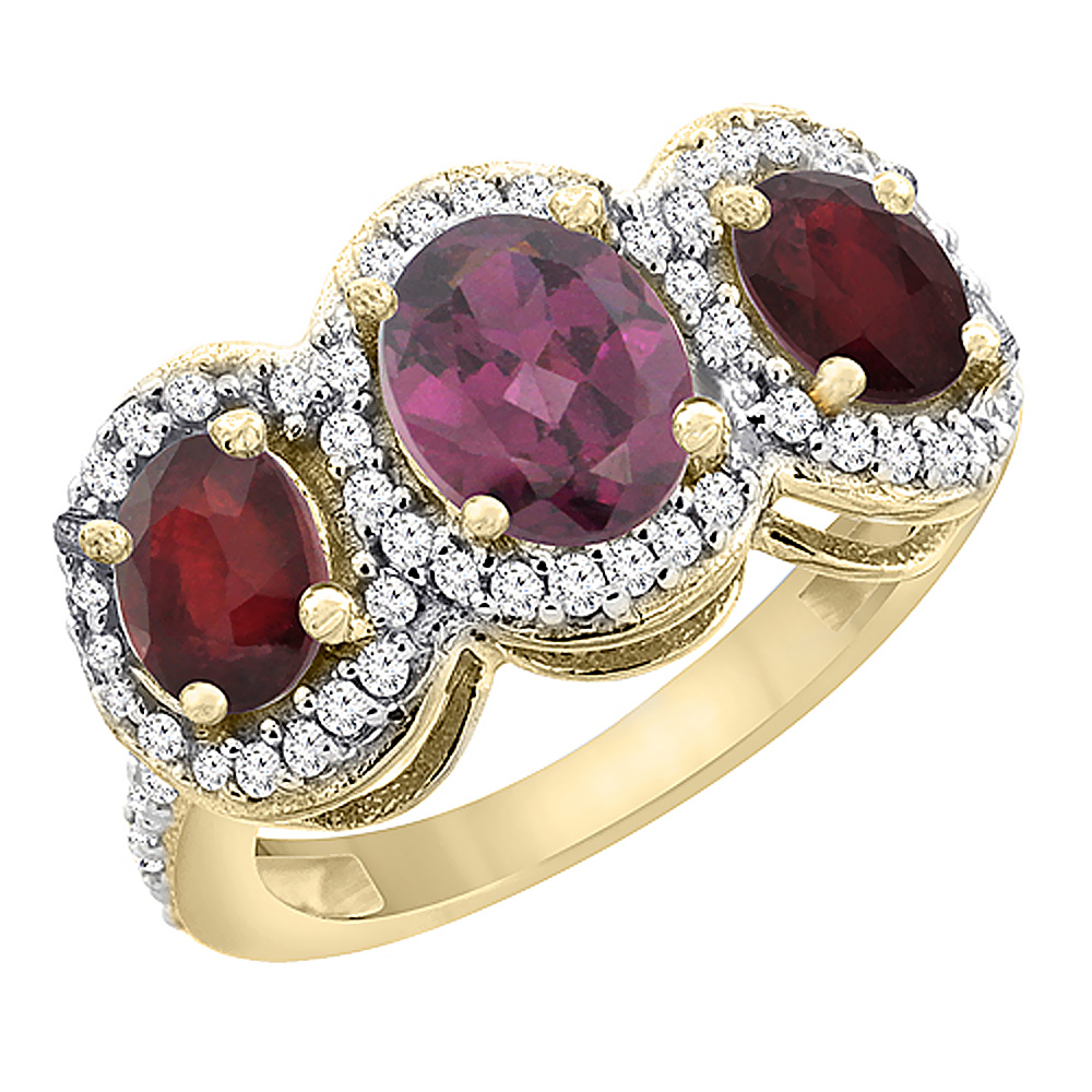 14K Yellow Gold Natural Rhodolite & Enhanced Ruby 3-Stone Ring Oval Diamond Accent, sizes 5 - 10