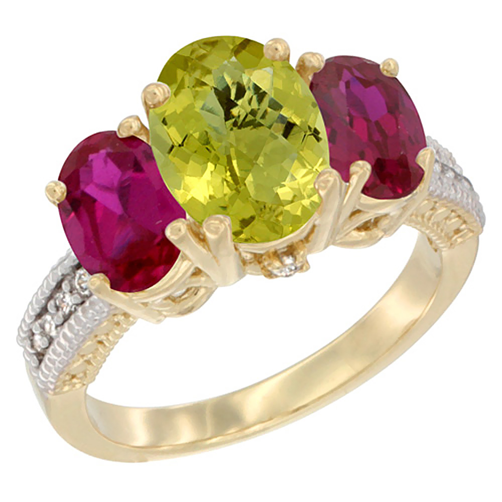 14K Yellow Gold Diamond Natural Lemon Quartz Ring 3-Stone Oval 8x6mm with Ruby, sizes5-10