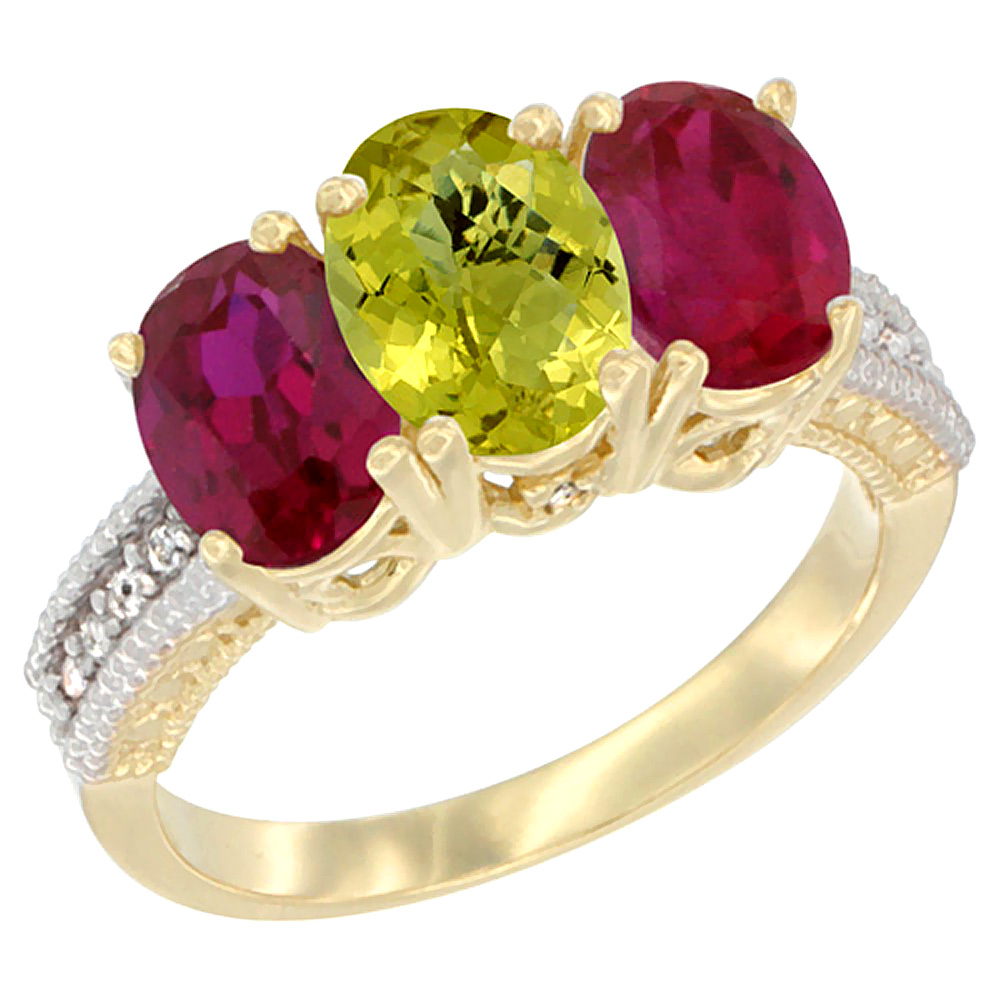 14K Yellow Gold Natural Lemon Quartz & Enhanced Ruby Sides Ring 3-Stone 7x5 mm Oval Diamond Accent, sizes 5 - 10