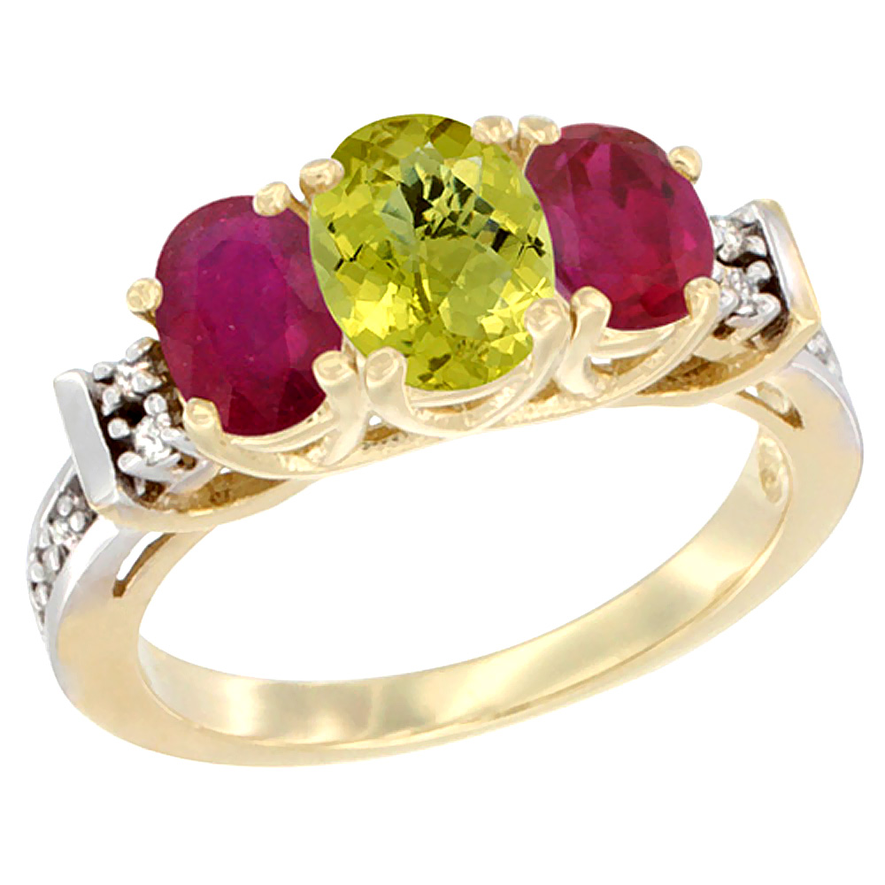 14K Yellow Gold Natural Lemon Quartz & Enhanced Ruby Ring 3-Stone Oval Diamond Accent