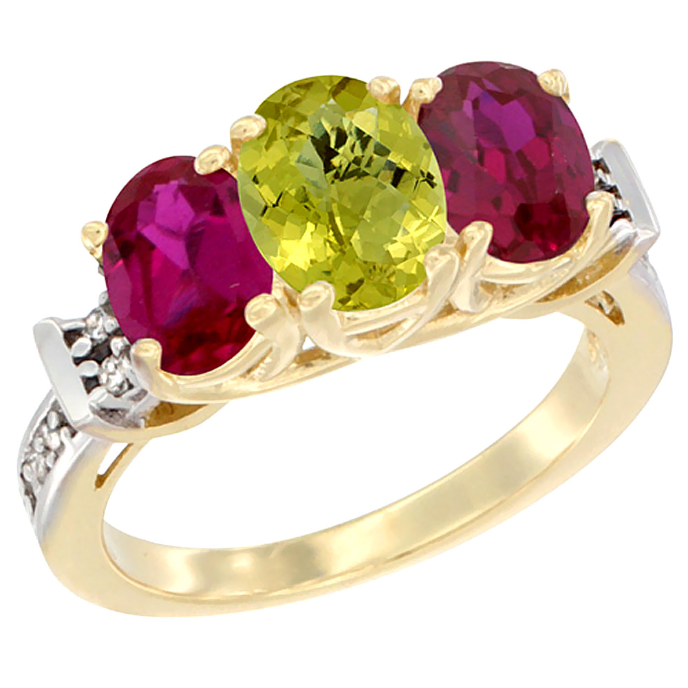 14K Yellow Gold Natural Lemon Quartz & Enhanced Ruby Sides Ring 3-Stone Oval Diamond Accent, sizes 5 - 10