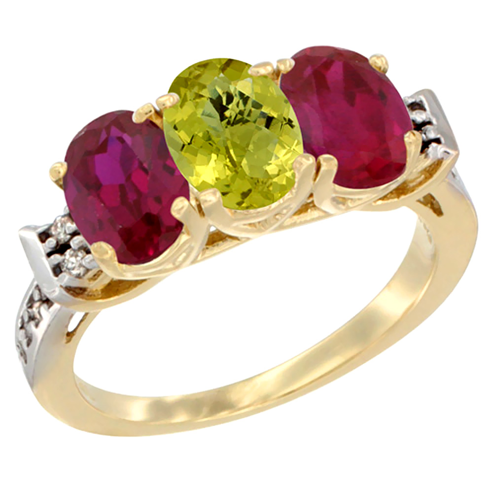 14K Yellow Gold Natural Lemon Quartz & Enhanced Ruby Sides Ring 3-Stone Oval 7x5 mm Diamond Accent, sizes 5 - 10