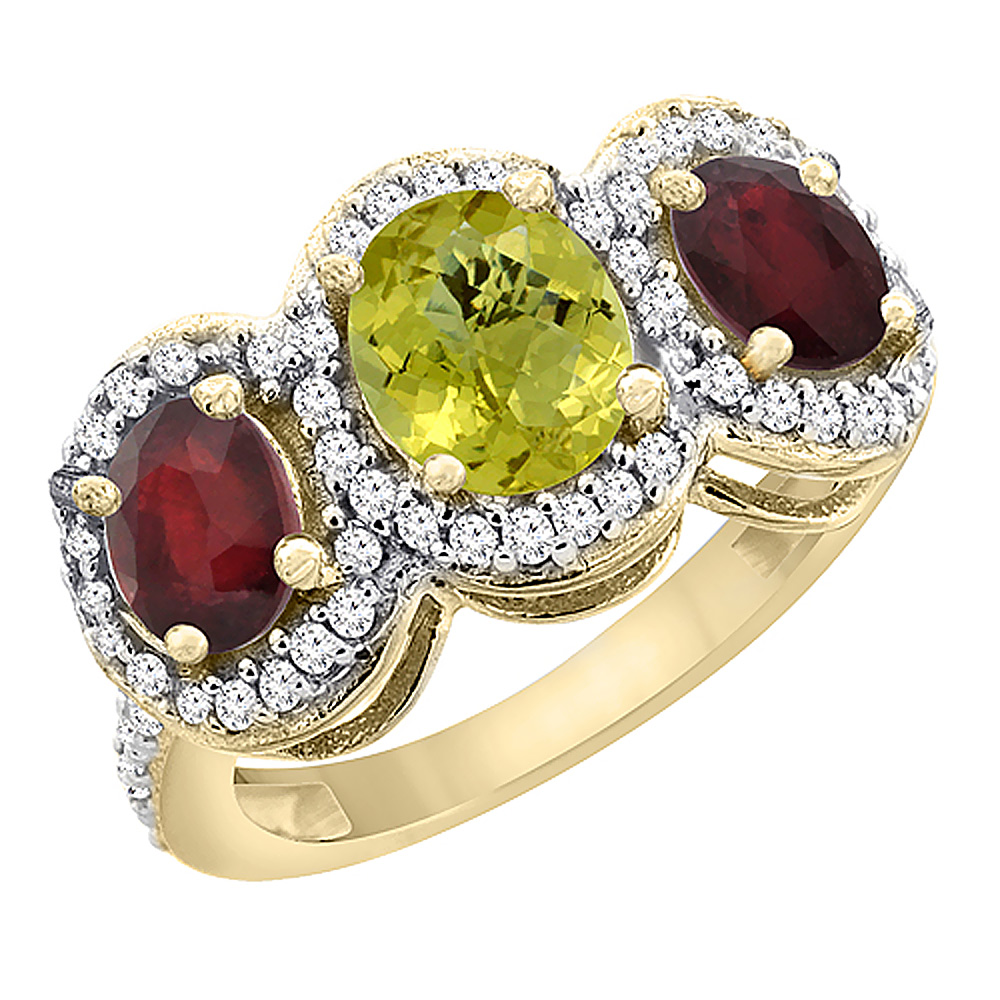 14K Yellow Gold Natural Lemon Quartz & Enhanced Ruby 3-Stone Ring Oval Diamond Accent, sizes 5 - 10