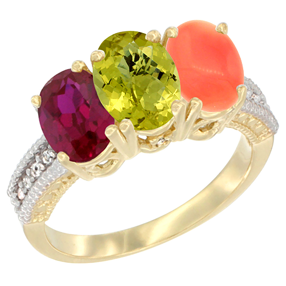 14K Yellow Gold Enhanced Ruby, Natural Lemon Quartz & Coral Ring 3-Stone 7x5 mm Oval Diamond Accent, sizes 5 - 10